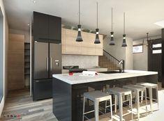 Small Modern House with Interior - SamPhoas Plan Duplex House Design, Simple House Design, Modern House Design, Plane, Small Modern House Plans, Family House Plans, Kitchen Dinning, Room Interior Design, Home Design Plans