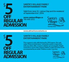 ATTRACTIONS ONTARIO - $5 Off Santa's VIllage. Steve Pacheco Real Estate. More coupons: bit.ly/1hupagH Ontario Attractions, Santa's Village, Labour Day, Printable Coupons, Real Estate, Real Estates