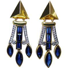 Vintage Modernist FRED PARIS Sapphire Diamond Earrings Heavy 18K Gold from luvmydiamonds on Ruby Lane