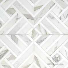 Delaunay Grand, a hand-cut stone mosaic, shown in polished Calacatta Tia and honed Thassos, is part of the Palazzo collection by New Ravenna. Mosaic Bathroom, Mosaic Backsplash, Master Bathroom, Bath Tiles, Hall Bathroom, Calacatta Tile, New Ravenna, Tile Stores, Stone Mosaic