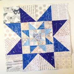 A triple star block for @cleverpixie2 and @sara84kay for their July #hive5stillalive block. One block to make and I'm all caught up on my commitment sewing. For the first time since March! Feeling kinda pleased