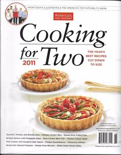 Americas Test Kitchen magazine Cooking for Two Ricotta tarts Chicken Pork Salsa