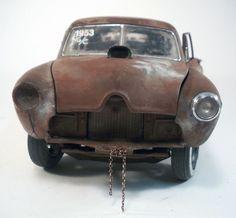 1953 Henry J Gasser Weathered Barn Find Drag Car Rat Rod 1 18 Diecast Sunstar