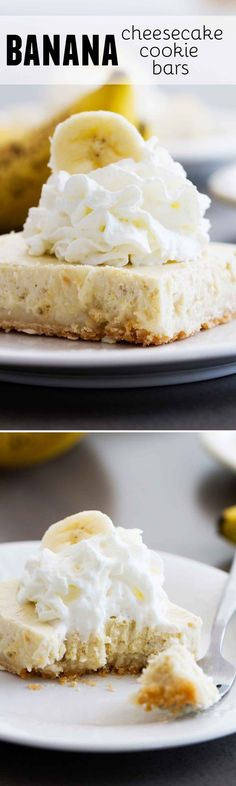 Banana Cheesecake Cookie Bars – Taste and Tell Those leftover bananas are begging to be turned into these Banana Cheesecake Cookie Bars! Super easy and super delicious, these bars will curb that cheesecake craving. Banana Cheesecake, Cheesecake Cookies, Cheesecake Recipes, Cookie Recipes, Dessert Recipes, Banana Dessert, Bar Recipes, Fruit Recipes, Yummy Recipes