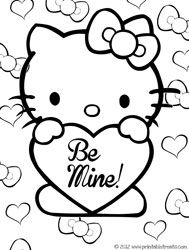 Hello Kitty Valentines Coloring Pages from PrintableTreats.com