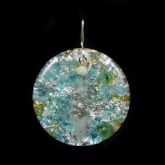 Orgonite Round Orgone Energy Pendant. Tibetan Crystal, Blue Apatite, Petalite, Phenacite, Rhodizite, Selenite, Tourmaline, Shungite (838)
