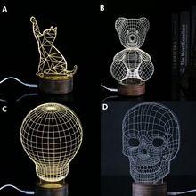 Lampu dekorasi hewan Kucing dan Beruang Kayu cahaya Acrylic 3D LED tengkorak Illusion Cahaya Dipimpin Lampu Meja Modern Living Micro USB Malam cahaya