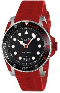 b3ee6dd3e0b Gucci Dive Stainless Steel  amp  Red Rubber Strap Watch  Gucci  DiveWatch   Steel