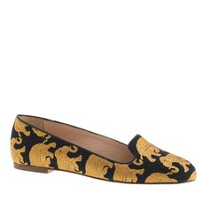 J.Crew women's Sophie elephant parade loafers.