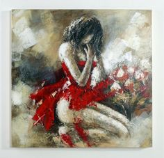Encore in Red - Oil Painting - Individually hand painted acrylic oil painting on canvas for modern home decoration by Nova Deko.