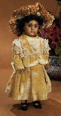 "French Brown Bisque Bebe by Jules Steiner in Original Velvet Costume for Au Nain Bleu 14"" (36 cm.)"