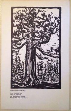 Vintage 1964 TREES OF YOSEMITE Ahwahnee Hotel Menu Giant Sequoia Tree Woodblock