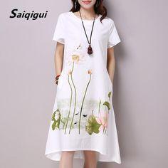 f01d55b633 Saiqigui Summer Dress Plus Size Short Sleeve White Women Dress Casual  Cotton Linen Dress Lotus Printing O-Neck Vestidos de Festa