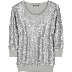 DKNY Sequined cashmere-blend sweater ($140) ❤ liked on Polyvore featuring tops, sweaters, shirts, t-shirts, shirt sweater, three quarter sleeve tops, dkny shirts, 3/4 length sleeve shirts and light gray sweater