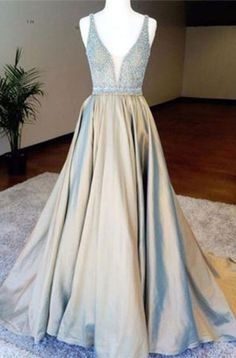 open back long prom dresses Deep V-neck Beading Bodice Long Prom Dresses Evening Dresses
