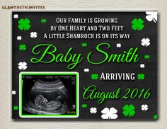 St. Patrick's Day Pregnancy Announcement by GlamtasticInvites