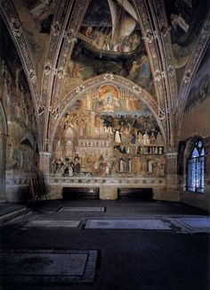 Santa Maria Novella church, Cappellone degli Spagnoli (Big Chapel of Spanish), fresco by Andrea di Bonaiuto.