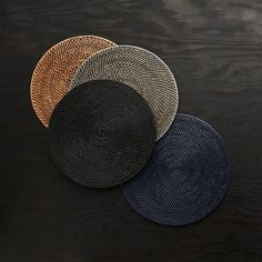 Artesia Round Rattan Honey Placemat and Helena Vanilla Linen Napkin Grey Placemats, Modern Placemats, Natural Placemats, Plate Mat, Christmas Table Settings, Linen Napkins, Hanging Baskets, Warm Colors, Crate And Barrel