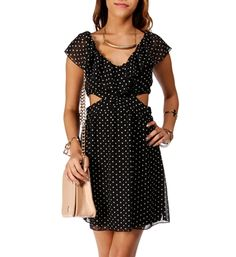 Black/Ivory Polka Dot Ruffle Cutout Dress