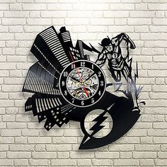 Flash Vinyl Record Wall Clock Avengers Fan Gift Idea For Home Decor
