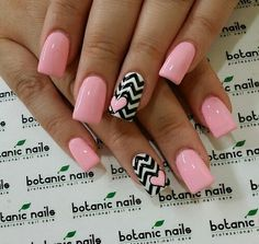 Nails Neue Nägel Design Pink und Schwarz Valentinstag Ideen How to Choose the Best Hair Styli Pink Nail Designs, Acrylic Nail Designs, Nails Design, Stylish Nails, Trendy Nails, Fancy Nails, Pink Nails, Black Nails, Botanic Nails