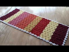 Crochet Doily Rug, Stripes, Rugs, Accent Rugs, Colorful Rugs, Rectangular Rugs, Doily Rug, Crochet Trim, Centerpieces