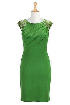 I <3 this Beaded crepe knit sheath dress from eShakti