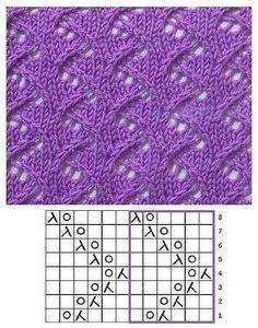 Rounds knit stitch pattern - Sarah - Her Crochet Lace Knitting Stitches, Knitting Machine Patterns, Knitting Charts, Easy Knitting, Loom Knitting, Knitting Socks, Lace Patterns, Stitch Patterns, Crochet Patterns