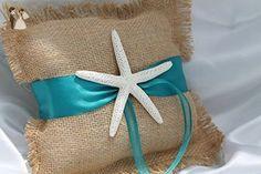 Burlap Starfish Ring Pillow, Beach Wedding, Destination Wedding, Turquoise Ring pillow, Ring Bearer, Starfish pillow - Wedding table decor (*Amazon Partner-Link)