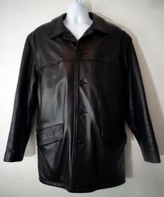 SCHOTT NYC. BROWN LEATHER CAR COAT FLAP POCKETS MEN'S SIZE 42 ...