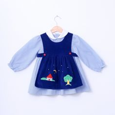 Vintage Dress and Pinafore White and Blue 4T