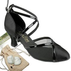 Bundle Lightweight Very Fine Women Ballroom Salsa Latin Tango Dance Shoe 9622 Heel Protectors Pouch Black Satin  Black Mesh 7 M US Heel 25 Inch -- Click image to review more details.(This is an Amazon affiliate link)