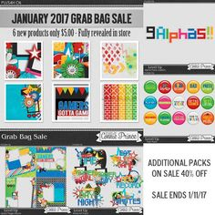 Designs by Connie Prince at the TheDigiChick: New this week January 2017 Grab Bag / Level Up Collection! The bag is packed full of 6 products and on sale for $5. Additional packs: Alphas, Word Art, Flair, & Quick Pages are 40% off. Sale ends 1/11/2017. TheDigiChick; http://www.thedigichick.com/shop/search.php?mode=search&substring=level+up&including=phrase&by_title=on&search_in_subcategories=on&manufacturers%5B0%5D=103