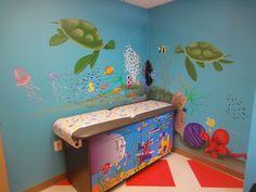 Pediatrician's exam room under the sea mural by artist Missy Sheldrake.