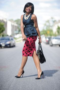 in taffeta with a fun pencil skirt + pearls #jadore-fashion #thefashionbomb \\ @dressmeSue pins real outfits