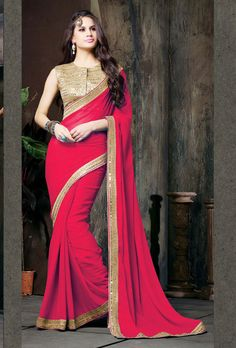 Red Chiffon Saree With Blouse 61369