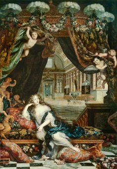 Portrait Of Madame De Montespan Reclining In Front Of Gallery Of The Chateau De Clagny, 1670's by Henri Gascard (1635-1701)