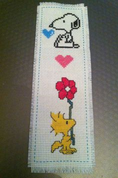 "cuteasmybutt: ""Handmade New Completed Finished Cross Stitch Bookmark Dog Peanuts ""SNOOPY & WOODSTOCK"" """