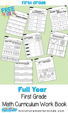 Full Year Math Curriculum First Grade Free Printable Book A full 36 weeks math book for first graders aimed at ages 188 pages. A lot of people said the full year packs were a lot easier for them to handle so I decided to start doing full year books … First Grade Curriculum, First Grade Math Worksheets, First Grade Freebies, First Grade Lessons, First Grade Activities, 1st Grade Math, Grade 1, Homeschooling First Grade, Grade Spelling