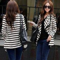Wish | Women Striped Cotton blend Casual Peplum Tops Cardigan Jacket Coat Cape Shawl outwear
