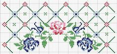 Today I bring you the Barrado Arco de Rosas Kitchen Game graphic with B . Cross Stitch Rose, Cross Stitch Borders, Cross Stitch Flowers, Counted Cross Stitch Patterns, Cross Stitch Designs, Cross Stitching, Cross Stitch Embroidery, Hand Embroidery, Border Pattern