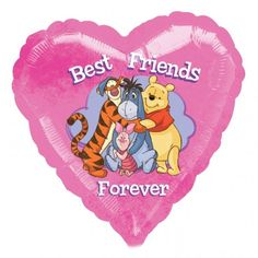 "Best Friends Forever  Tell someone they are your best friend with this lovely Winnie the Pooh ""Best Friends Forever"" pink heart balloon in a box. Helium filled balloons in a box delivered by post. Free balloon delivery on all orders."