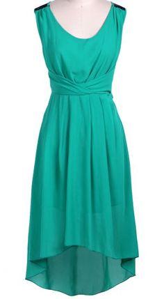 Green Sleeveless Lace Shoulder High Low Dress - Sheinside.com Mobile Site
