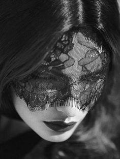 Scriptical.Wordpress.'Secret Garden'.Alyssa Miller By Koray Birand For Harper's Bazaar .Turkey October 2012.7 | fashion editorial | black | lace | face | lips | widow | sadness | grieving