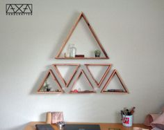 One Foot Triangle Shelf Triangle Shelves by AXAhandcrafted on Etsy