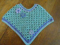 Crochet Spring Poncho Child Toddler Girl Aqua Purple Lavender Green Flowers 18 to 24 Months by kathyscrochetcloset on Etsy https://www.etsy.com/listing/126606505/crochet-spring-poncho-child-toddler-girl