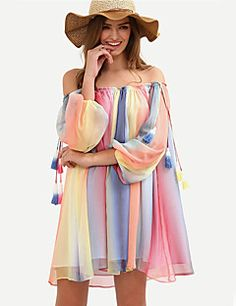 Women's Going out / Casual/Daily Sexy / Street chic Loose DressStriped / Color Block Chiffon Backless Boat Neck Mini  Sleeve Spring / Fall – GBP £ 20.23
