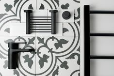black and white damask bathroom accessories Damask Bathroom, White Tile Floor, Yellow Bathrooms, Yellow Bathroom Accessories, Amazing Bathrooms, Black And White, White Subway Tiles, Bathroom Design Trends, Heated Towel Rail