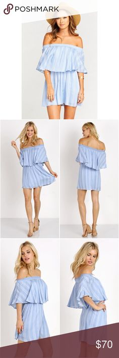 Show Me Your Mumu Casita Off Shoulder Dress Blue Ready for a little off the shoulder fun? Casita Mini Dress is the sweetest little thing to add to your wardrobe. She's got that cinched in waist that we love love love and perfect sleeves that aren't too long. Like the perfect dinner party she is tasteful while still being fun. Be sure to wear tons of bangles with her. The more the merrier! In Sidewalk Stripe Pattern. Blue.  *MADE IN THE GORGE USA*  *100% Rayon Crinkle  *Basically…