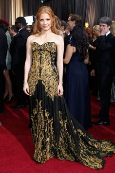 Jessica ChastainWearing an Alexander McQueen gown at the 2012 Academy Awards. www.madamebridal.com